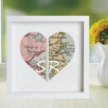 Vintage Map Framed Heart Print Displaying 2 Locations - Unique Wedding, Anniversary Gift, Housewarming, Bon Voyage Present